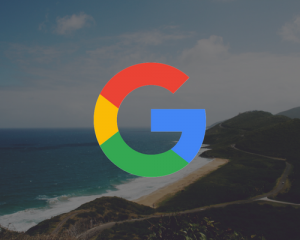Google logo on top of an amazing view