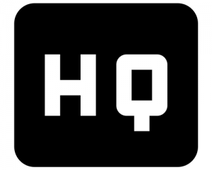 HQ written on a black background in white