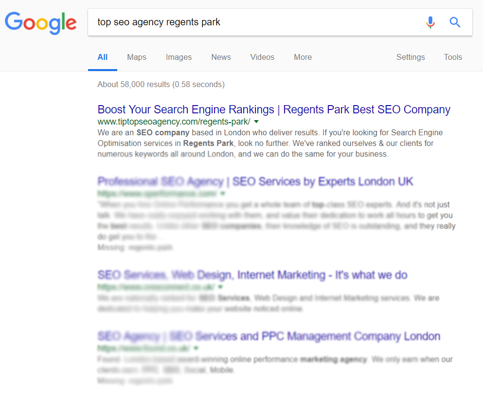Proof of SEO Ranking in London Regents Park