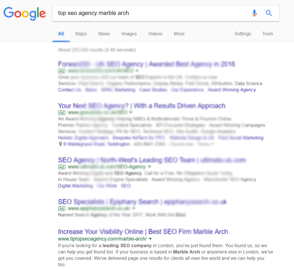 Proof of SEO Rankings in London Marble Arch