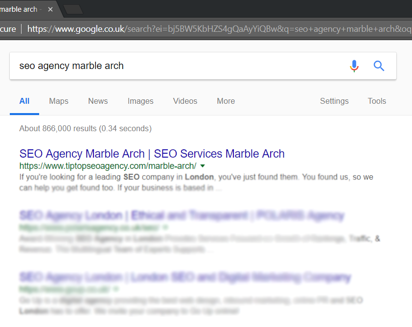 screen capture of #1 ranking for SEO agency Marble Arch